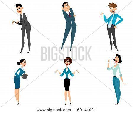 Vector illustration of a six businessmen set