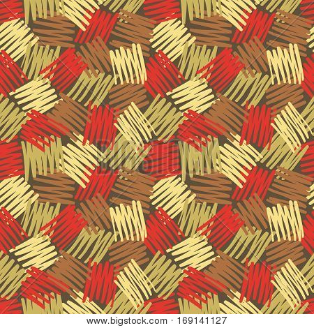 Abstract geometric background - seamless vector pattern in sketch drawing style. Brown, red, beige vintage pastel colors. Hatch texture design. Messy ragged lines.