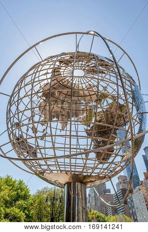 New York USA- May 20 2014. The globe sculpture by Kim Brandell at the Trump International Hotel and Tower near the 59th Street Columbus Circle Subway Station New York USA.