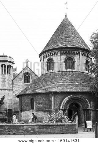 Cambridge Cambridgeshire United Kingdom - June 24 2006: The Church of the Holy Sepulchre known as The Round Church. Black and white.