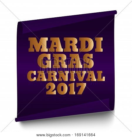 Purple Mardi Gras Carnival banner on a white background
