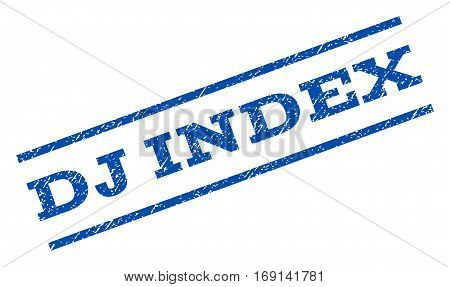 Dj Index watermark stamp. Text caption between parallel lines with grunge design style. Rotated rubber seal stamp with dust texture. Vector blue ink imprint on a white background.