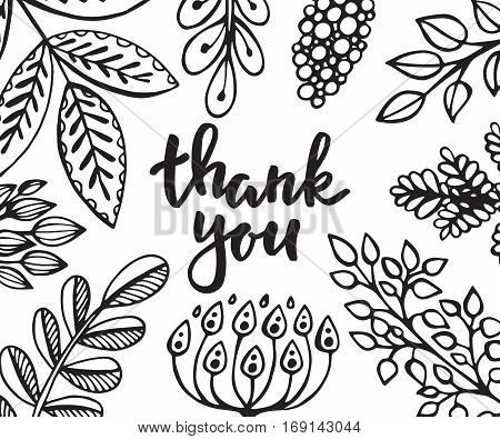 Thank you card with hand drawn with flowers, leaves and branches in sketch style. Black and white vector illusrtration