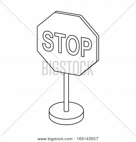 Stop road sign icon in outline design isolated on white background. Road signs symbol stock vector illustration.