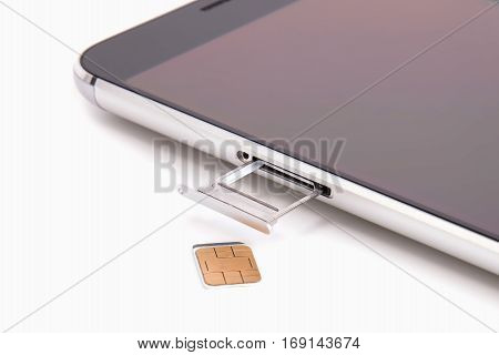 Sim card close up on white background