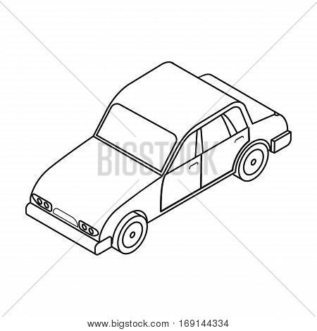 Car icon in outline design isolated on white background. Transportation symbol stock vector illustration.