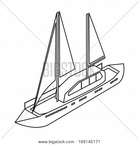 Yacht icon in outline design isolated on white background. Transportation symbol stock vector illustration.