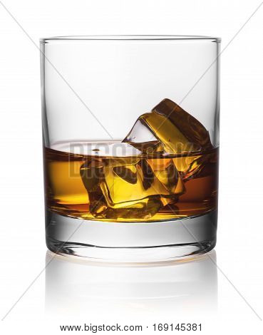 Round transparent glass of whiskey with ice isolated on white background