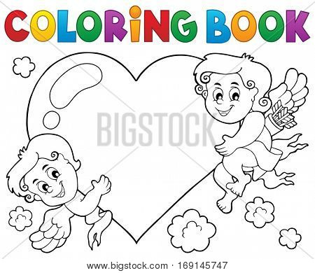 Coloring book Cupid topic 1 - eps10 vector illustration.