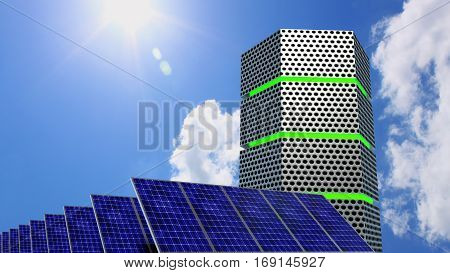 Green glowing server next to solar panels on a sunny day energy efficient computing concept 3D illustration