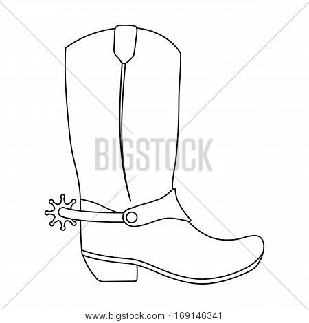 Cowboy boots icon in outline design isolated on white background. Rodeo symbol stock vector illustration.