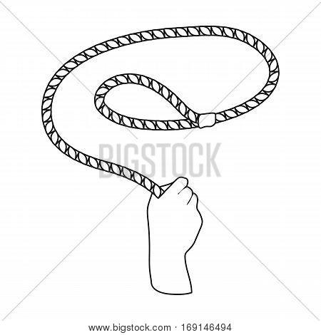 Hand with lasso icon in outline design isolated on white background. Rodeo symbol stock vector illustration.