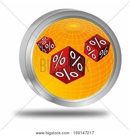 decorative orange Discount button - 3D illustration