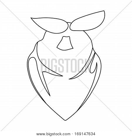 Cowboy bandana icon in outline design isolated on white background. Rodeo symbol stock vector illustration.
