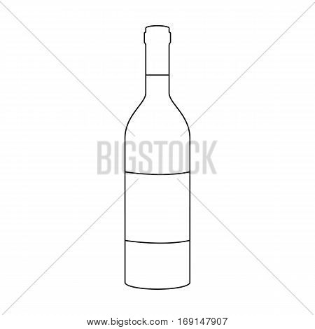 Bottle of red wine icon in outline design isolated on white background. Wine production symbol stock vector illustration.