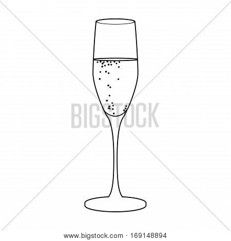 Glass of champagne icon in outline design isolated on white background. Wine production symbol stock vector illustration.