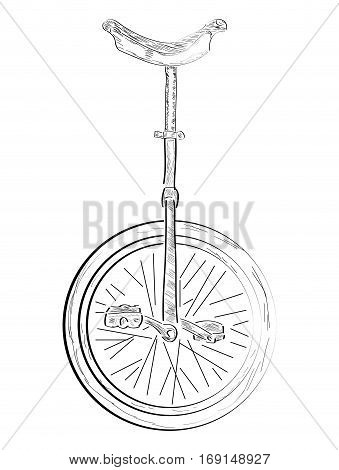 Isolated outline of a monocycle, Vector illustration