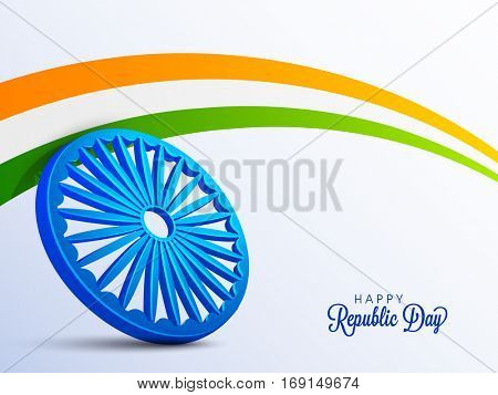 3D Ashoka Wheel with Indian Tricolor Stripes for Happy Republic Day celebration.
