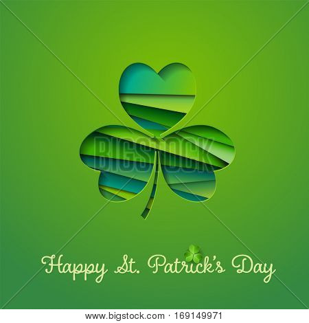 Happy St. Patricks's Day greeting card with abstract shamrock in cut out style, eps10 vector