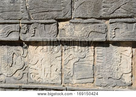 Mayan stone frieze at Chichen Itza in mexico