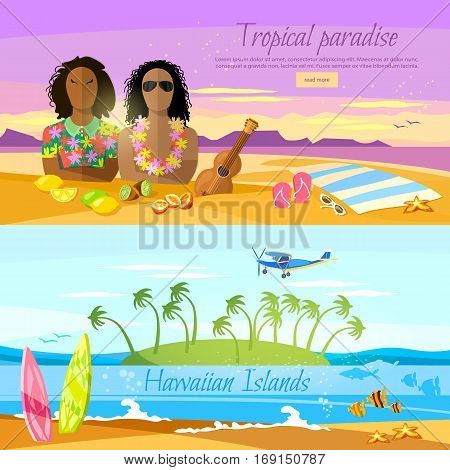 Tropical beach banner paradise island for rest. Travel to Hawaii Tahitii. Two surfers on beautiful beach. Perfect tropical paradise. Travel in summer