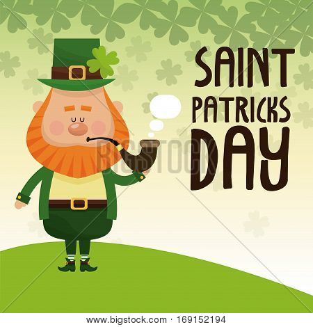 saint patricks day leprechaun smoking tobacco pipe lettering poster vector illustration eps 10