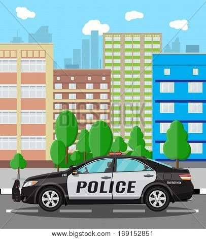 Generic police car at cityscape background. Vector illustration in flat style