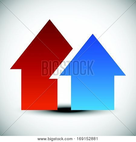 Icon, Logo, Symbol With 2 Overlapping House Shapes - Simple House Icon