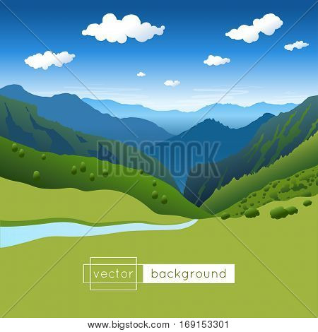 Vector landscape with blue sky mountains river and clouds in gradient colors. Template of banner backdrop poster or splash screen. Background with summer afternoon.