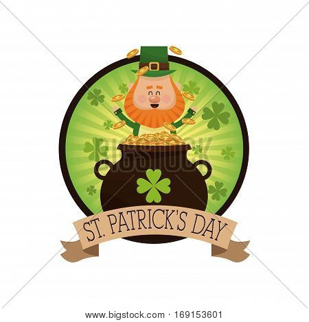 leprechaun happy tossing gold pot decorative label vector illustration eps 10
