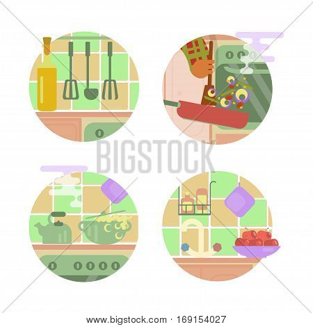 Set of cooking illustrations, kitchen interior background, frying pan in hand. Vector flat design. Isolated on white background