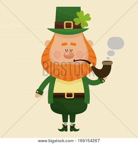leprechaun smoking tobacco pipe vector illustration eps 10
