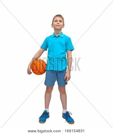 Happy young boy posing with basketball isolated on white. Full length portrait.