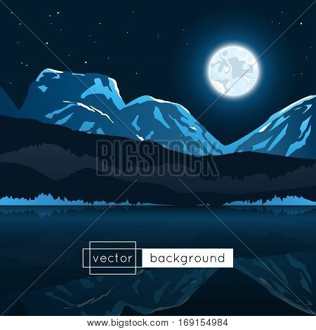 Vector landscape with moon mountains lake and stars in the night in gradient colors for use as a template of banner backdrop poster or splash screen.