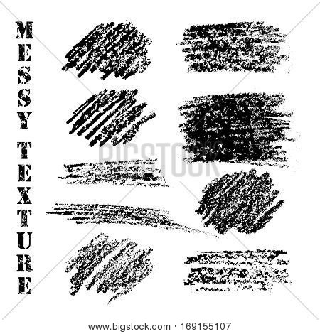 Hand drawn texture backgrounds. Messy pencil created objects for banners, labels. Black textured design elements. Grunge torn edges. Distress vector illustration.