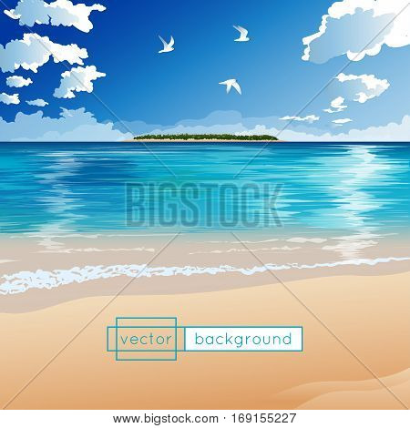 Vector landscape with ocean tropical island flying birds clouds and sandy coast in the sunny summer day in gradient colors for use as a template of banner backdrop poster or splash screen.