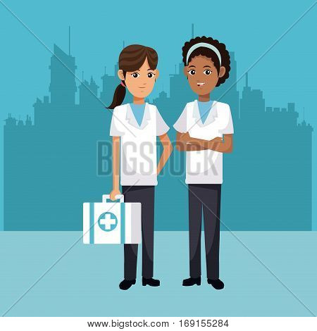 women medical health medicine urban background vector illustration eps 10