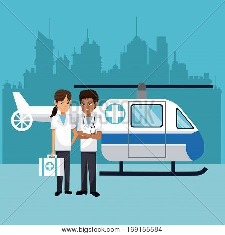 medical staff with helicopter emergency vector illustration eps 10