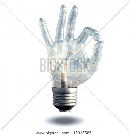 OK Symbol Light bulb isolated on white  3D Render