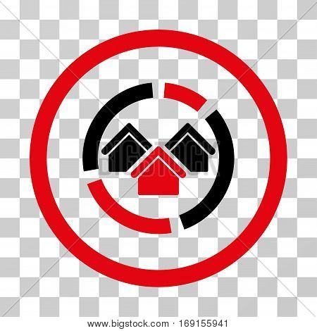 Realty Diagram icon. Vector illustration style is flat iconic bicolor symbol intensive red and black colors transparent background. Designed for web and software interfaces.