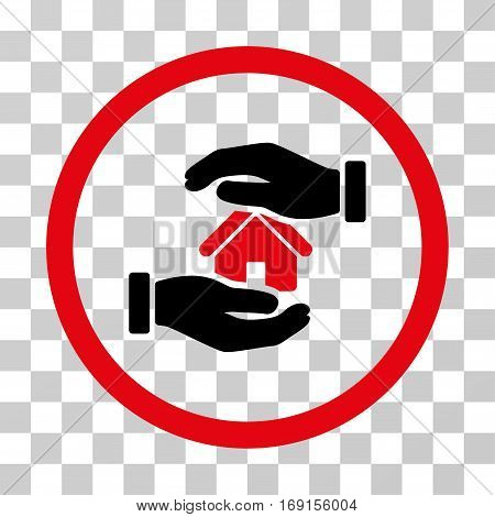 Realty Insurance Hands icon. Vector illustration style is flat iconic bicolor symbol intensive red and black colors transparent background. Designed for web and software interfaces.