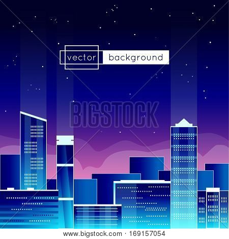 Vector illustration with view of a big city at the evening and sample text in blue colors for use as a template of banner backdrop poster screen saver or splash screen.