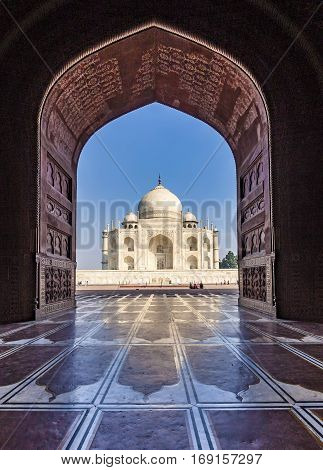 Taj Mahal in India seen through arc