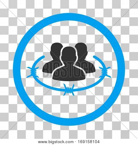 Concentration Camp icon. Vector illustration style is flat iconic bicolor symbol blue and gray colors transparent background. Designed for web and software interfaces.