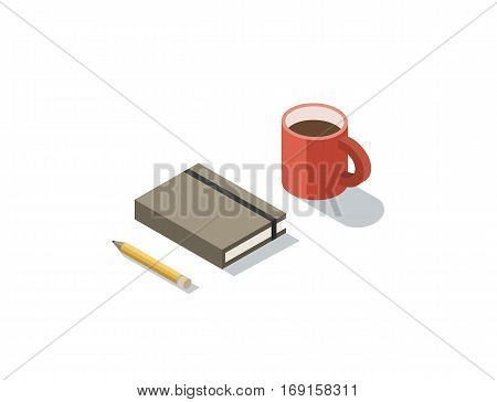 Vector isometric illustration of notebook with coffee cup, 3d flat coffee brake during working day concept.