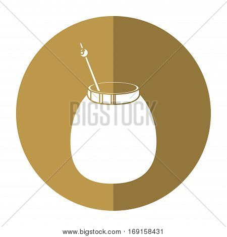 mate tea calabash herb-circle icon shadow vector illustration eps 10
