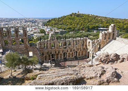 Beautiful view of Amphitheater Acropolis, Athens. GREECE.