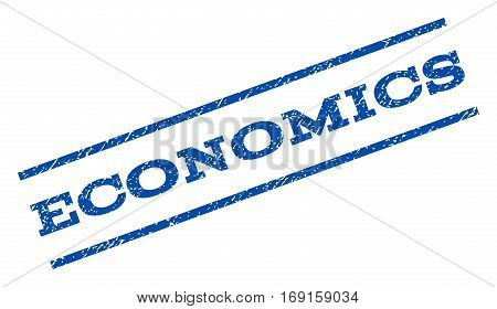Economics watermark stamp. Text caption between parallel lines with grunge design style. Rotated rubber seal stamp with dirty texture. Vector blue ink imprint on a white background.