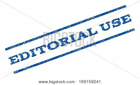 Editorial Use watermark stamp. Text tag between parallel lines with grunge design style. Rotated rubber seal stamp with scratched texture. Vector blue ink imprint on a white background.
