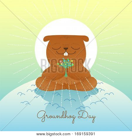 Groundhog day with smiling marmot holding flowers on isolated background of nature. Character cartoon vector illustration.